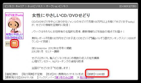 まぐまぐ殿堂入りメルマガ【女性にやさしいCD/DVDせどり】