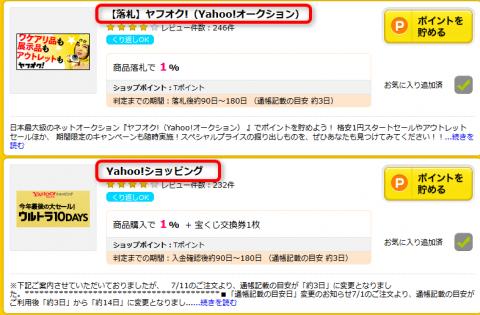 ハピタス>ヤフオク!、Yahoo!ショッピング