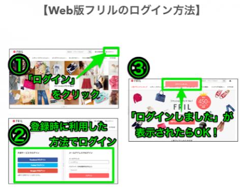 ウェブ版フリルログイン方法